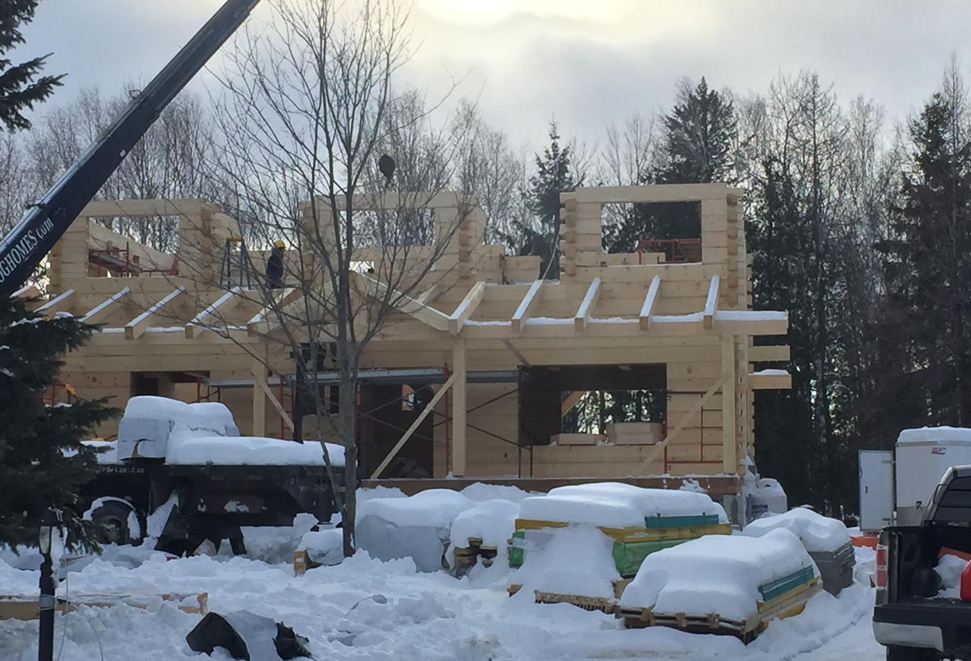 Log home under construction in Carp, Ontario