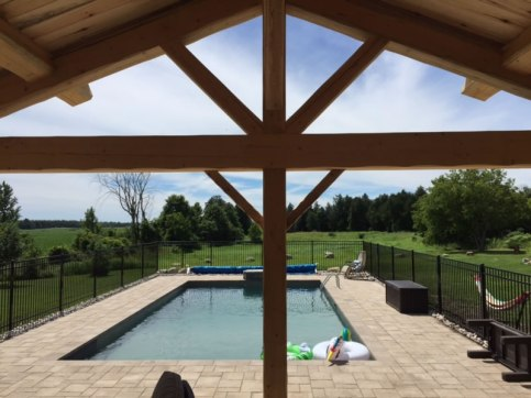 Outdoor timber frame over deck