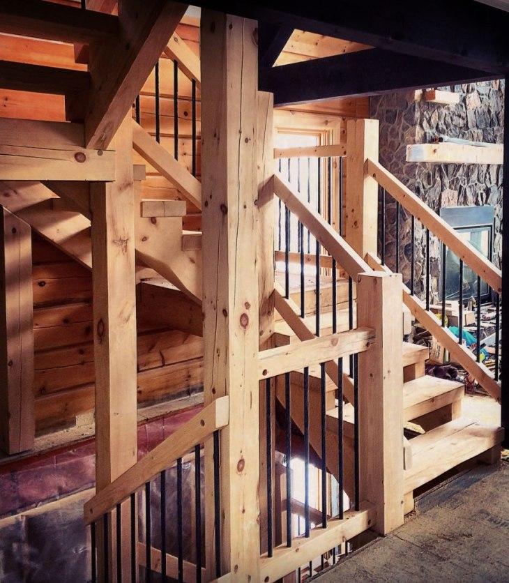 Log home stairs and railings