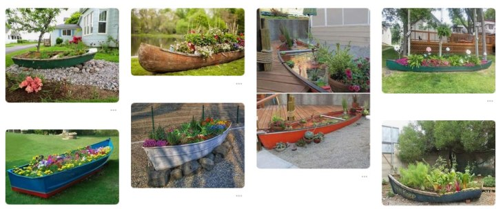 Garden planters made out of old boats