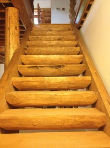 Log stairs with closed stringers