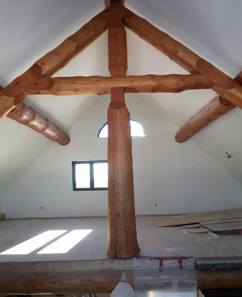 New log home construction, South Nation River, Ottawa