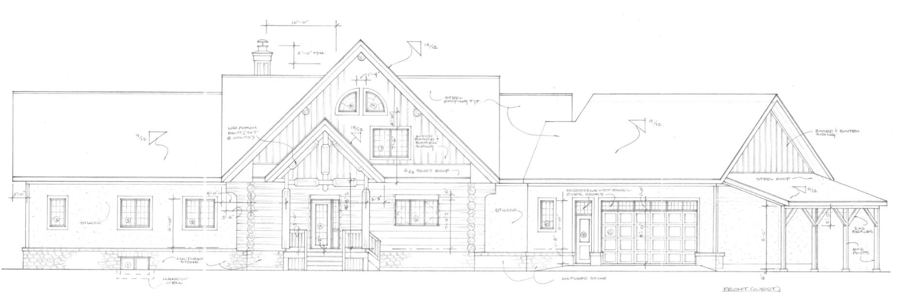 Classic log home elevation