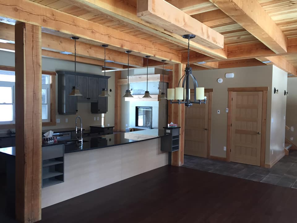 Kitchen with timber frame accents